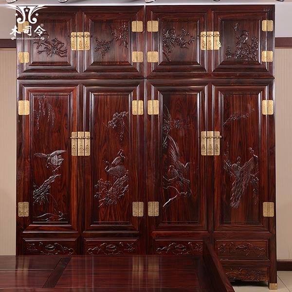 红木大衣柜顶箱柜储物柜黑酸枝木卧室中式两门四门雕花衣橱衣帽柜