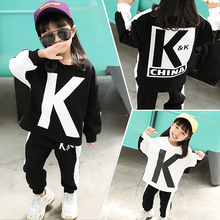 KK Team Clothes Children's Autumn Clothes 2019 New Girl's Sports Sanitary Clothing Net Red Suit Pure Cotton Children's Clothes Two Suits