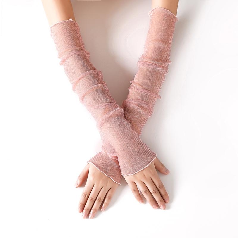 冰丝网纱袖套女长款半指手套超薄透气遮阳遮疤纹身骑车手臂套夏季