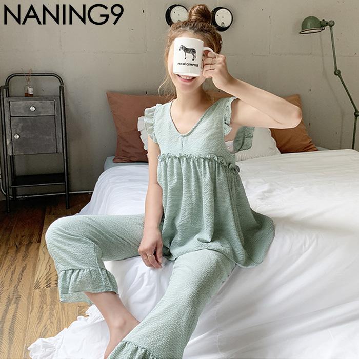 包邮韩国代购官网女装韩版naning9舒适花边睡衣+睡裤家居服套装