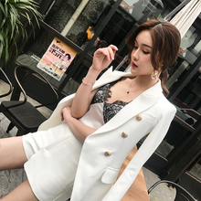 Double-breasted white suit jacket Chic fashion suit