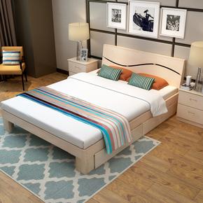 实木床1.5米单人床1.2松木双人床2米加宽床1.8m简约现代成人大床