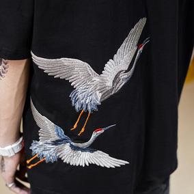 潮街区夏季中国风复古仙鹤刺绣T恤男短袖ins潮宽松学生五分袖体恤