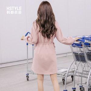 韩都衣舍2019春装新款韩版气质chic温柔高腰裙子连衣裙女RW8523瑒