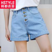 韩都衣舍2018夏季新款女装韩版chic高腰卷边宽松牛仔短裤GD9965聖