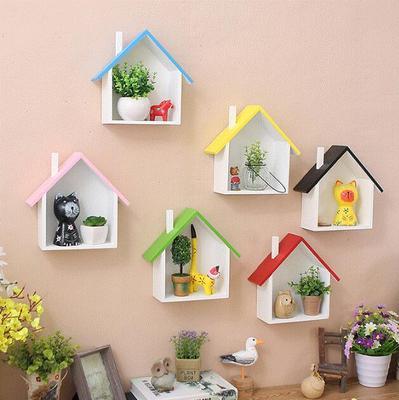 墙面壁饰小木屋美式家庭店铺彩色小房子墙上装饰品壁挂置物架隔板年中大促