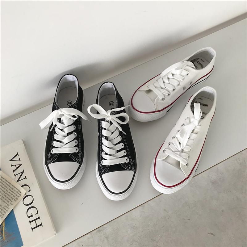夏季2019新款港风百搭帆布鞋女装韩版学生休闲鞋基础小白鞋平底鞋