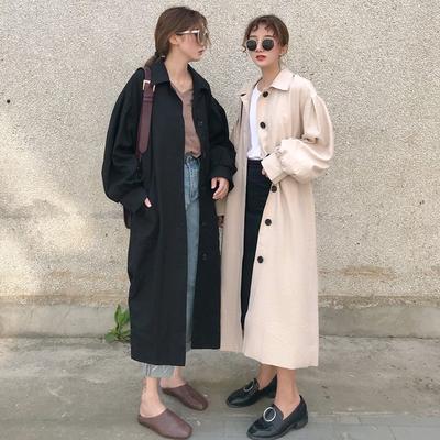 春秋季2019新款流行韩版宽松系带开叉中长款风衣外套女装学生上衣