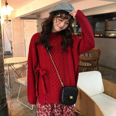 很仙的毛衣洋气上衣甜美百搭慵懒风秋冬宽松绑带加厚长袖针织衫女