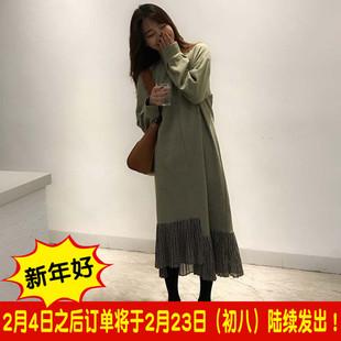 冬装韩版chic女装学生百搭中长款显瘦下摆拼接假两件长袖连衣裙潮
