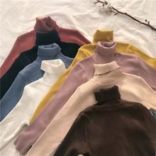 韩版新款纯色百搭高领长袖毛衣学生秋季套头针织衫打底衫外套女装