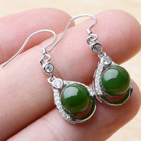 Jasper beaded earrings with diamonds ladies earrings trendy fashion earrings jasper earrings no black spots spinach green