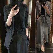 2019春秋季韩版休闲西装套装棉麻女装新款舒适显瘦阔腿裤两件套潮