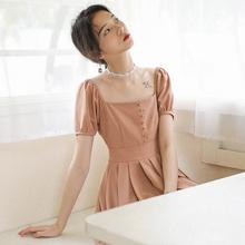 子供遅くレトロ裁判所半袖ドレススリムフレンチスクエア妖精のドレス香港風味のシックな女の子の最初の愛のスカート
