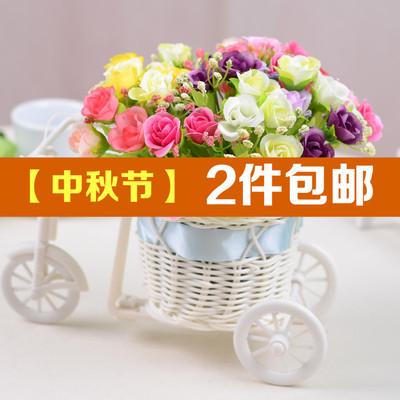 新款藤编三轮车套装 钻石玫瑰QQ玫瑰套装绢花假花仿真花装饰花