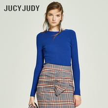 Jucy Judy百家好春季新款毛衣女修身露背系带纯色针织衫JSKT221N图片