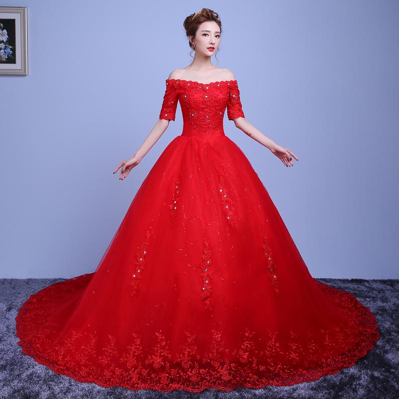 婚纱礼服齐地一字肩长拖尾婚纱韩式大码新娘红色婚纱2018新款秋