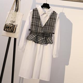 2019新款春装大码女装微胖mm时尚洋气显瘦减龄马甲连衣裙两件套装