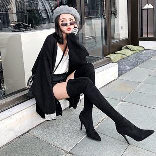 尖头过膝长靴女瘦腿弹力靴细跟超高跟显瘦长筒靴子黑 2019秋冬新款