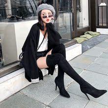 2019秋冬新款 尖头过膝长靴女瘦腿弹力靴细跟超高跟显瘦长筒靴子黑