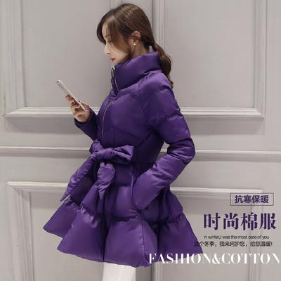 反季冬装新款a字棉衣女装显瘦裙摆中长款加厚羽绒棉服收腰冬外套