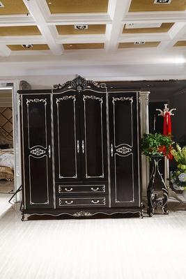 新古典 实木衣柜欧式黑檀色四门衣柜拉门大衣柜套房组合打折促销