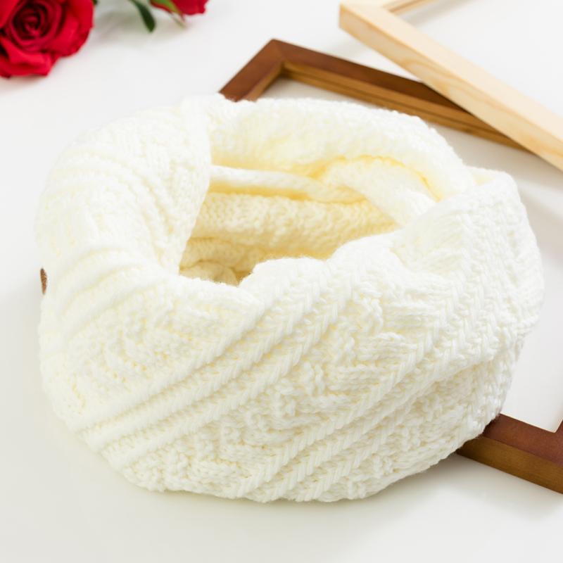 韩版秋冬季学生保暖针织围脖套头百搭原宿男女情侣白色毛线围巾潮