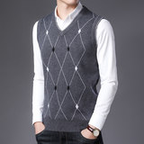 Autumn and winter middle-aged men's sweater wool thick warm vest dad wear sleeveless sweater vest V-neck vest