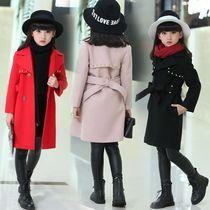 童装大码秋冬款女童毛呢大衣韩版中大童加厚洋气外套风衣大童上衣