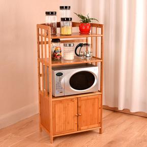 微波炉架厨房置物架落地烤箱架楠竹多层储物架楠竹带门收纳柜特价