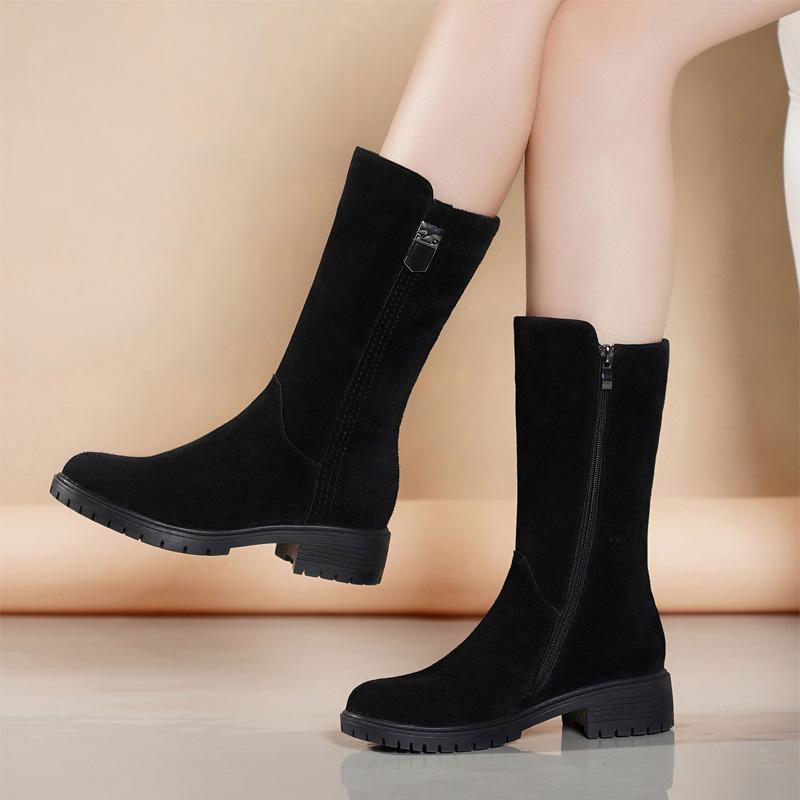 金特 百丽秋冬靴子女加绒真皮中筒靴平底马丁靴粗跟保暖磨砂女靴