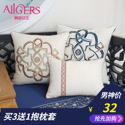 新中式布藝沙發靠墊抱枕繡花家居客廳靠背中國風腰枕含芯大靠枕打折促銷
