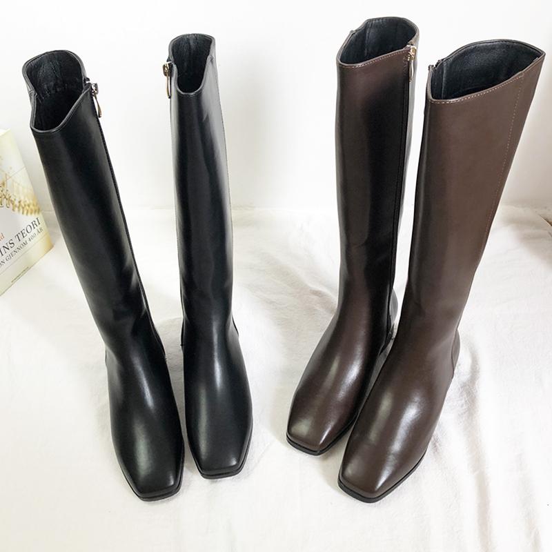 秋冬新款方头平底长靴及膝骑士靴不过膝高筒帅气软皮粗跟女靴子