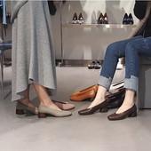 方头舒适女鞋 拼色粗跟鞋 春秋新款 复古浅口中跟单鞋 奶奶鞋 2018韩版