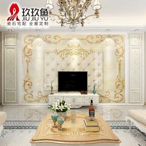 玖玖鱼 大理石欧式简约客厅电视背景墙瓷砖3D微晶石背景墙 赛安娜