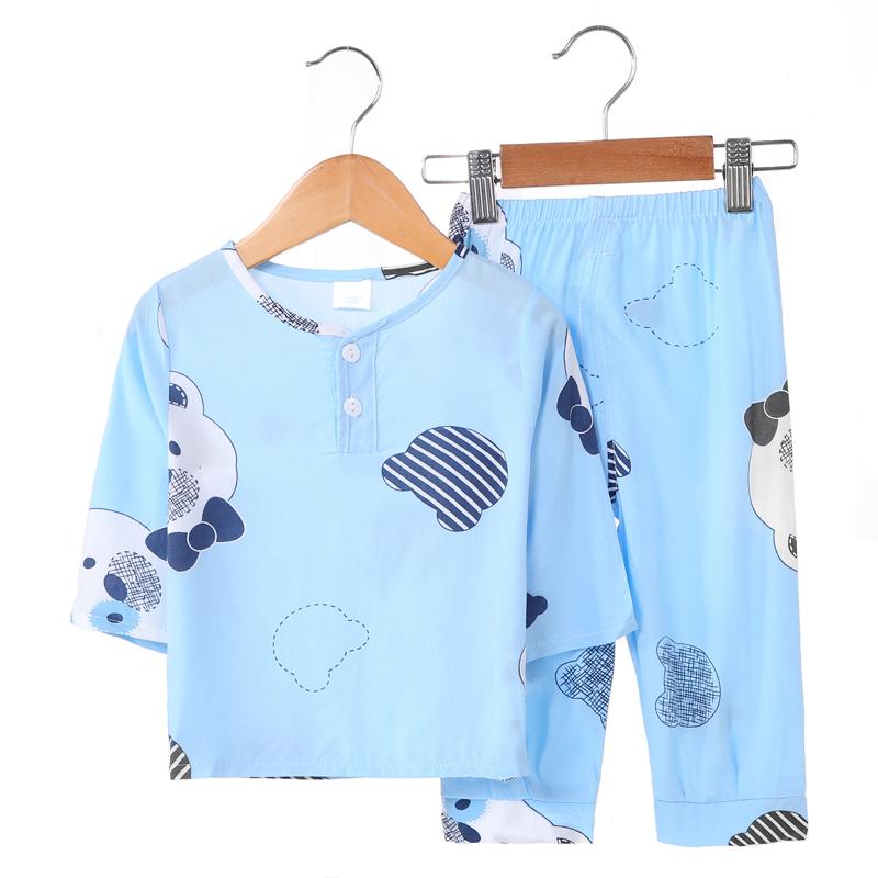 儿童睡衣薄款夏季棉绸长袖中大童男孩男童女童宝宝绵绸空调家居服