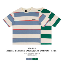 VIABUD 19SS FOREST KING LOGO embroidered round collar cotton loose striped T-shirt short sleeve