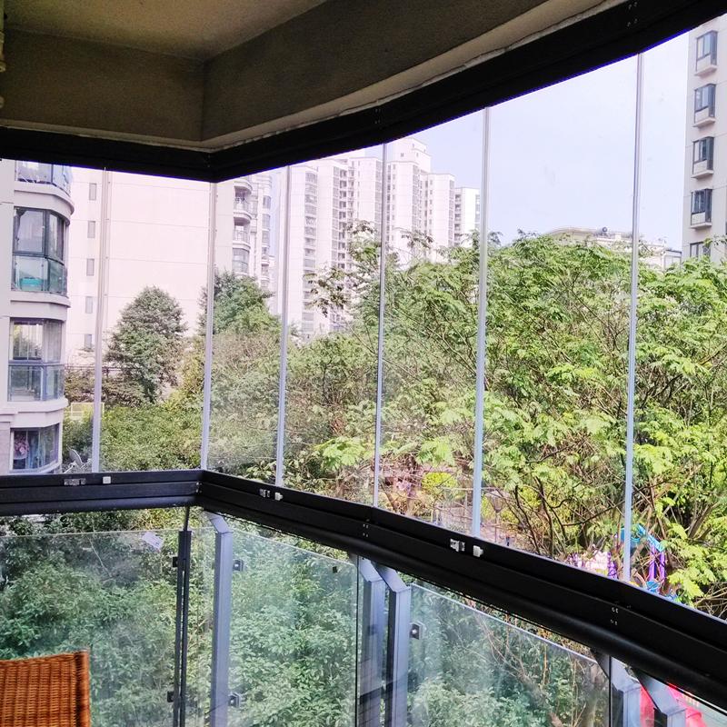 双扇折叠无框阳台窗 上海封窗户 全景创开式玻璃阳台 8mm钢化玻璃