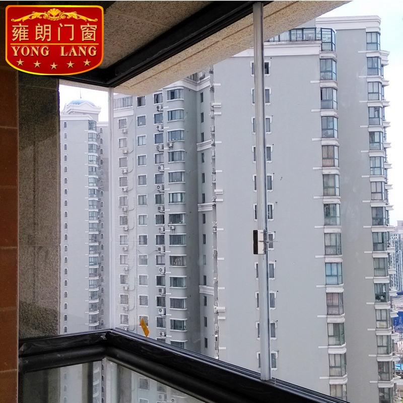 三轨道平移无框阳台窗 豪华加厚无框玻璃窗 封窗户 推拉无框门窗