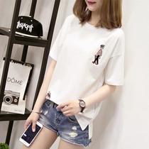 短袖t恤女夏装2018新款韩范白色打底衫宽松纯棉体恤ins超火的上衣