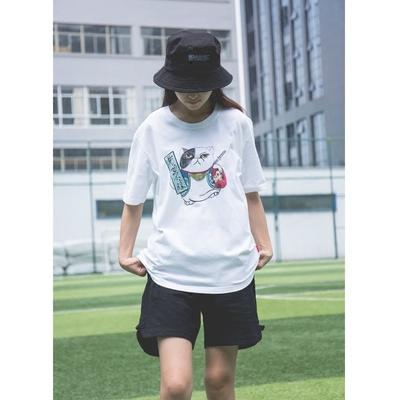 日系武士猫战无不胜创意印花纯棉短袖中性宽松帅气学生女装T恤衫