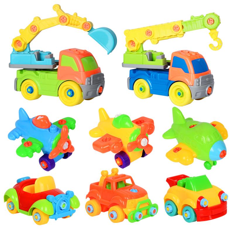 男孩DIY 动手拼装拆卸交通工具工程车 儿童益智汽车积木玩具套装