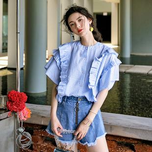 裁缝的通缉令 小清新荷叶边上衣显瘦蓝白条纹衬衫层叠压褶韩版新
