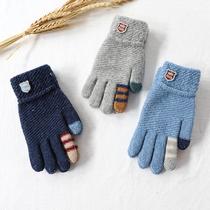 儿童五指毛线针织手套男童冬天大童保暖男孩学生加厚女童盛琦秋冬