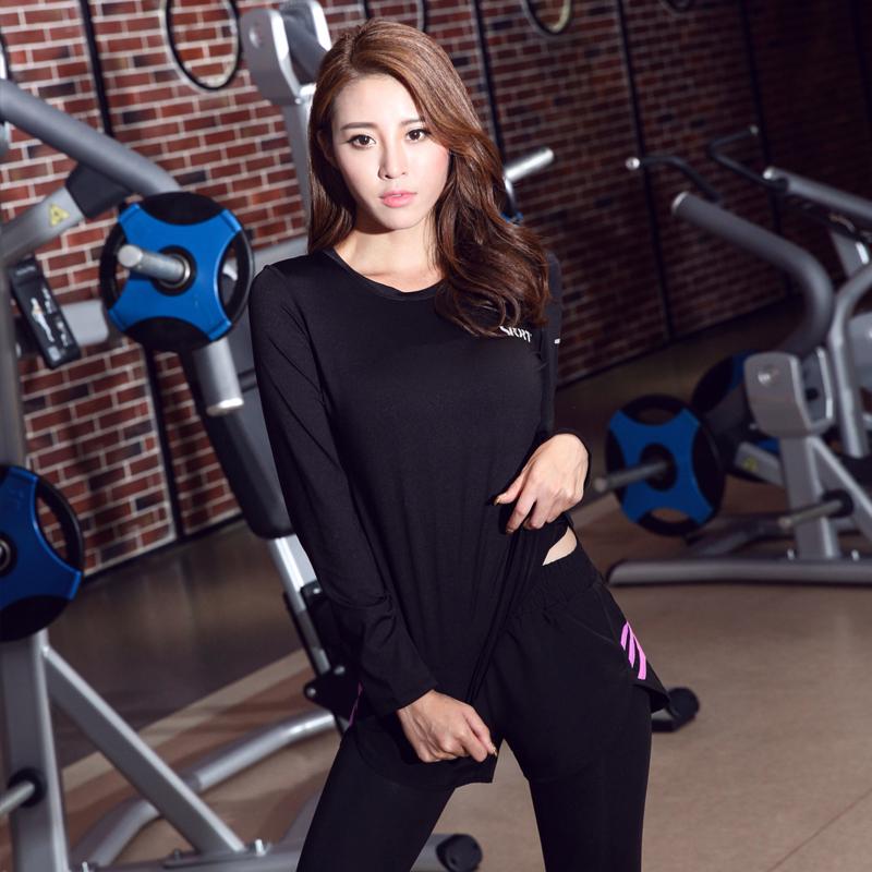 秋季透气运动T恤速干长袖瑜伽服上衣女士显瘦修身排汗跑步健身衣