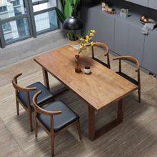 小户型餐桌椅组合现代简约 美式铁艺实木北欧一桌四椅饭桌组合