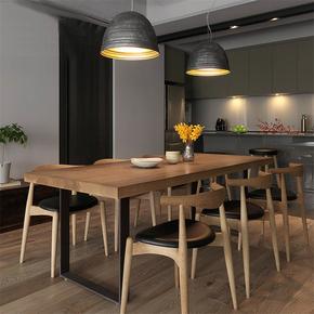 北欧实木餐桌椅组合简约现代小户型长方形家用4人客厅铁艺吃饭桌