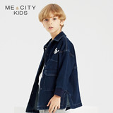 Michelle Mecity Kids'Wear 19 Autumn New Kids' Mid-long Jeans Shirt Korean Jacket Coat