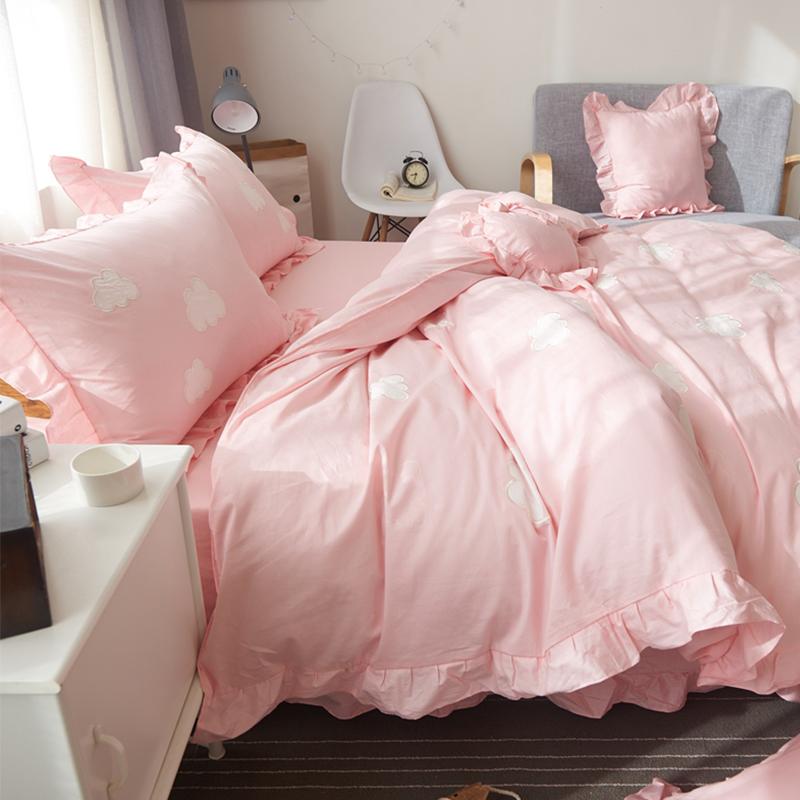 纯棉四件套全棉粉色