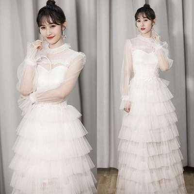 梁田同款连衣裙女刺绣拼接网纱白色宴会派对主持人性感婚纱礼服裙